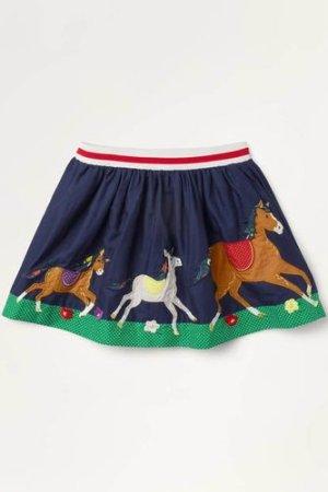 Scene Appliqué Skirt Blue Girls Boden, Navy