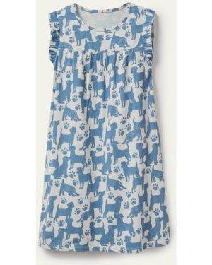 Printed Short-Sleeved Nightie Blue Girls Boden, Blue