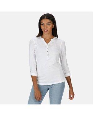 Regatta Women's Fflur Long Sleeved Half Button Top - White