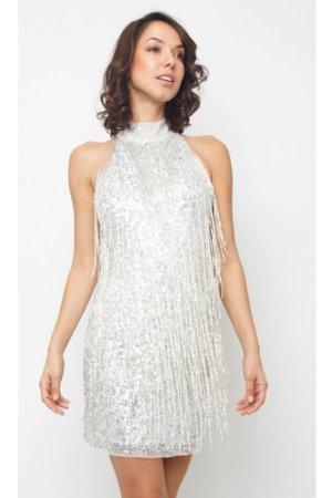 Lace & Beads Nadia Silver Mini Dress