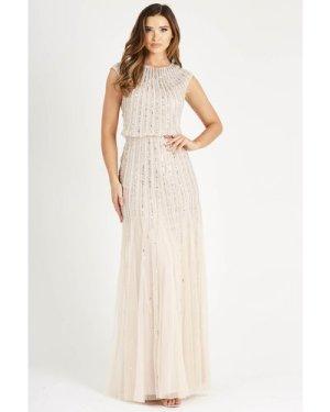 Lace & Beads Maje Nude Maxi Dress