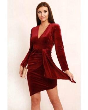 TFNC Rhis Burgundy Velvet Midi Dress