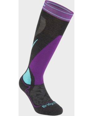 Bridgedale Women's Ski Midweight Merino Endurance Over Calf Socks - Purple/Wmns, Purple/WMNS