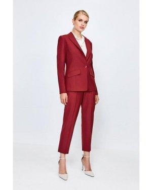 Karen Millen Polished Stretch Wool Blend Jacket -, Red