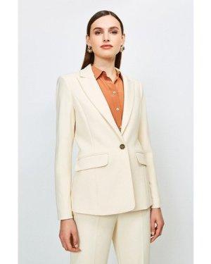 Karen Millen City Stretch Twill Jacket -, Cream