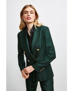 Karen Millen Luxe Stretch Twill Jacket -, Evergreen