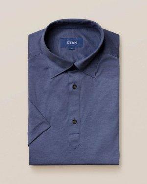 Navy jersey popover shirt - short sleeved