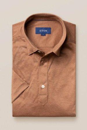 Brown popover jersey shirt - short sleeved