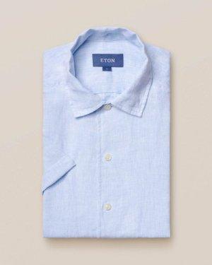 Blue linen resort shirt