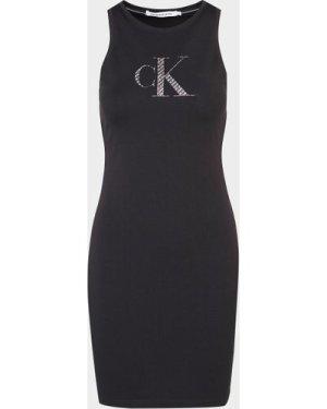 Women's Calvin Klein Jeans Satin Logo Tank Dress Black, Black