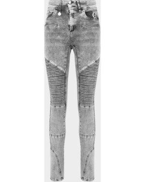 Women's Holland Cooper Biker Distressed Skinny Jeans Grey, Grey