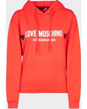 Women's Love Moschino Heart Logo Hoodie Red, Red