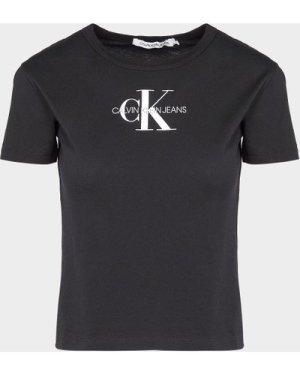 Women's Calvin Klein Jeans Monogram Stripe T-Shirt Black, Black