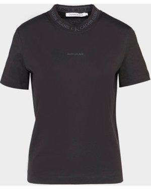 Women's Calvin Klein Jeans Logo Neck T-Shirt Black, Black