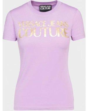 Women's Versace Jeans Couture Logo T-Shirt Purple, Lilac