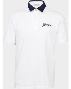 Lanvin Signature Short Sleeve Polo Shirt White, White/White