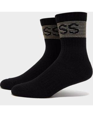 Men's BOSS Ribbed Shine Logo Socks Black, Black
