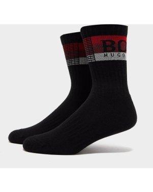 Men's BOSS Stripe Ribbed Socks Black, Black