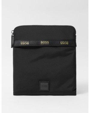 Men's BOSS Pixel Small Zip Envelope Bag Black, Black