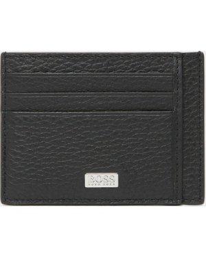 Men's BOSS Cross Leather Card Holder Black, Black