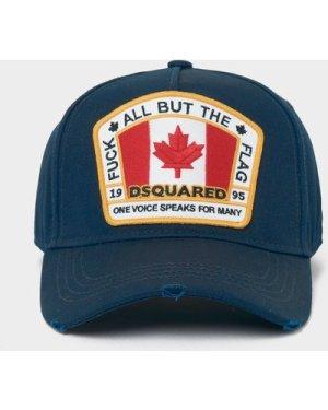 Men's Dsquared2 Flag Patch Cap Blue, Navy