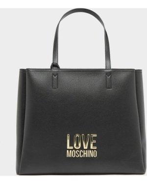 Women's Love Moschino Bond Letter Tote Bag Black, Black