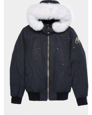 Men's Moose Knuckles Ballistic Fur Bomber Jacket Blue, Navy