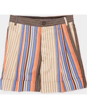 Men's Vivienne Westwood Vertical Stripe Shorts Orange, Orange