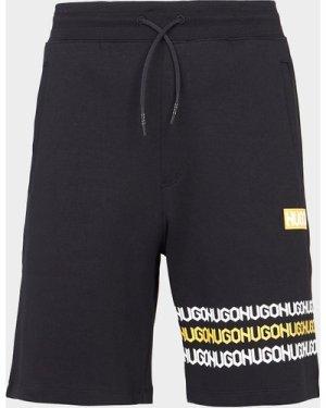 Men's HUGO Dakumi Tape Fleece Shorts Black, Black/Black