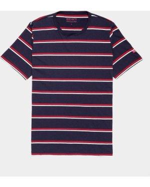 Men's Albam Wide Stripe Short Sleeve T-Shirt Blue, Navy