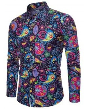 Colorized Patterning Printed Long Sleeve Shirt