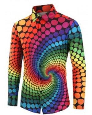 Plus Size Colorful Polka Dot Swirl Print Long Sleeve Shirt