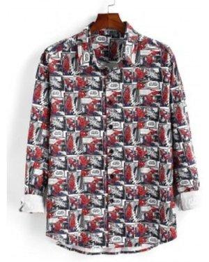 Marvel Spider-Man Button Up Comics Print Shirt