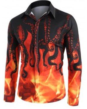 Fire Octopus Pattern Long Sleeve Button Up Shirt