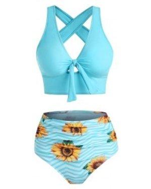Sunflower Zig Zag Tied Tummy Control Tankini Swimwear