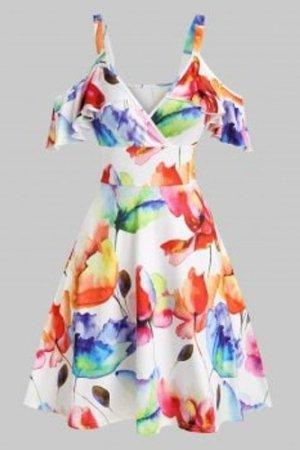 Cold Shoulder Flower Printed High Waist Dress
