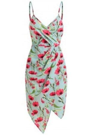 Floral Print Asymmetrical Surplice Dress