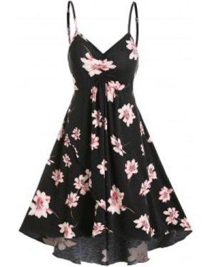 Floral Print Mini Cami High Low Dress