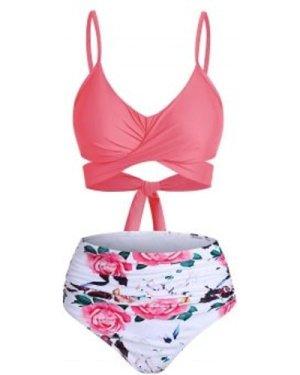 Flower Crisscross Tummy Control Bikini Swimwear