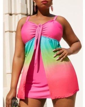 Plus Size Ombre Color Tankini Swimwear
