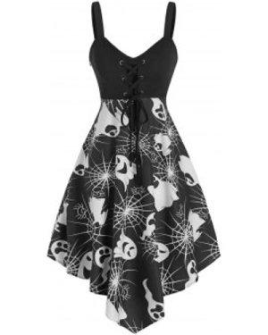 Halloween Ghost Print Empire Waist Cami Asymmetrical Dress