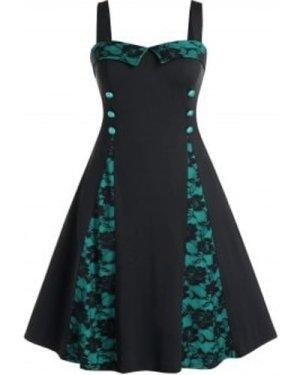 Plus Size Floral Lace Panel High Waist Dress