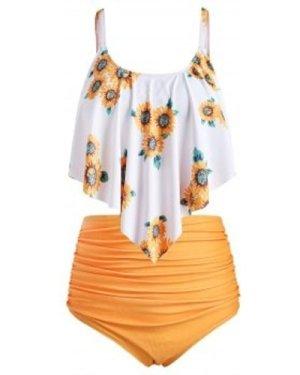 Plus Size Ruffled Sunflower Print Bikini Set