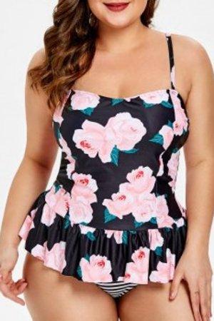 Plus Size Floral Striped Tankini Set