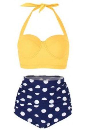Polka Dot Ruched Halter Bikini Set