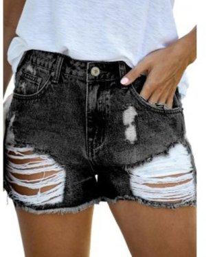 Distressed Frayed Hem Denim Shorts