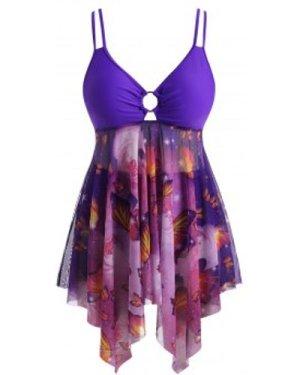 Plus Size O-ring Butterfly Print Mesh Panel Handkerchief Hem Tankini Swimwear