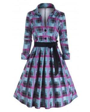 Tartan Mock Button Belted Dress