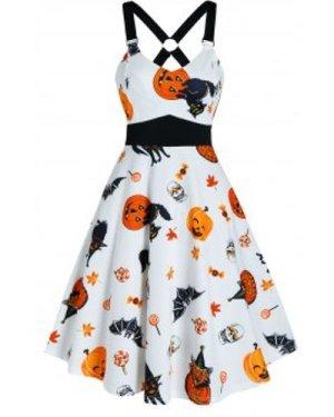 Halloween Pumpkin Animal Print Cami A Line Dress