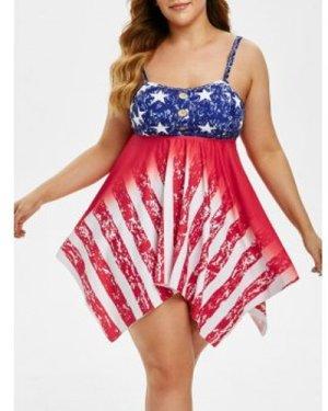 Plus Size American Flag Print Handkerchief Tankini Swimwear